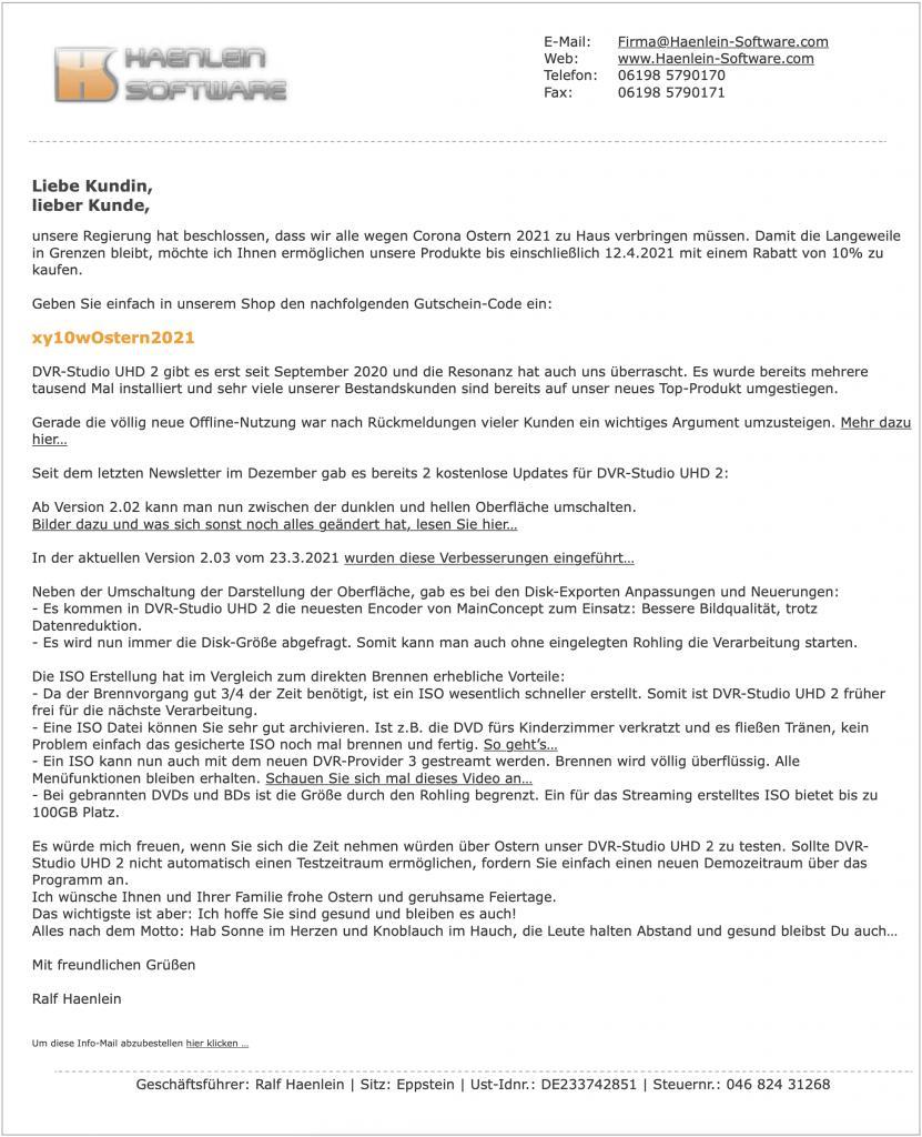 Aktion zu ostern 2021 von haenlein software-newsletter2021-03-24.jpg